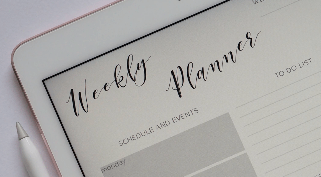 voorbeeld van een weekplanner